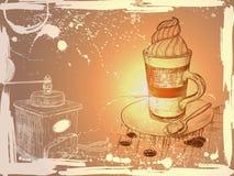 Schmutzhintergrund mit Handtasse kaffee- und -kaffeeschleifen stock abbildung