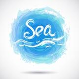 Schmutzhintergrund mit hellem blauem Spritzen Sea Vektor Stockbilder