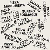 Schmutzhintergrund mit verschiedenen Pizzanamen Lizenzfreie Stockbilder