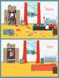 Schmutzig und Reinraum Störung im Innenraum Raum vor und nach Reinigung Flache Artvektorillustration lizenzfreie abbildung