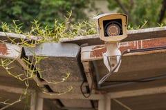 Schmutzige Überwachungskamera und Video im Freien auf Grasdach Stockfotografie
