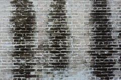 Schmutzige alte Backsteinmauer mit schwarzem Fleck auf Wand Lizenzfreie Stockfotos