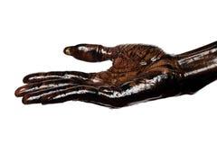 Schmutzige hand- Palme oben lokalisiert auf weißem Hintergrund Lizenzfreie Stockfotos