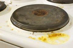 Schmutzige Küchen-Ofen-Nahaufnahme Stockfotografie
