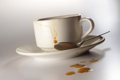 Schmutzige Kaffeetasse Stockfoto