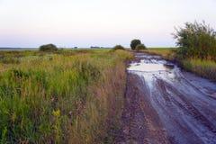 Schmutzige Landstraße unter Feldern bei Sonnenuntergang Lizenzfreie Stockbilder