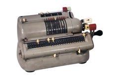 Schmutzige Rechenmaschine mit sortierten Knöpfen und Schaltern stockbilder
