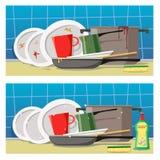 Schmutzige Teller mit einem Schwamm und saubere Teller mit einem Schwamm und einem Reinigungsmittel Stellen Sie von zwei flachen  stock abbildung