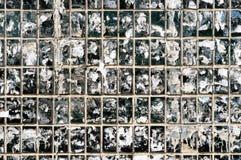 Schmutzige Wand von Fliesen und von Papier Stockbild