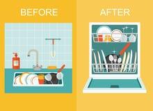 Schmutzige Wanne mit Küchengeschirr, Gerät, Tellern, Tellerreinigungsmittel und einem Schwamm Öffnen Sie Spülmaschine mit saubere Lizenzfreie Stockfotos