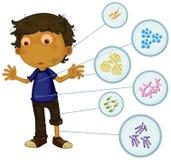 Schmutziger Junge voll von Bakterien Stockfoto