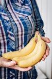 Schmutziger Landwirt übergibt Griffen gelbe reife Bananenfrucht Stockfoto