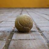 Schmutziger Tennisball im Boden lizenzfreies stockbild