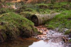 Schmutziger Wasserstrom vom rostigen Rohr Lizenzfreies Stockfoto