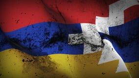 Schmutziges fahnenschwenkendes das Bergkarabach-Schmutzes auf Wind stock abbildung