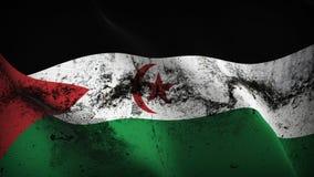 Schmutziges fahnenschwenkendes des arabischen Schmutzes demokratischer Republik Sahrawi auf Wind lizenzfreie abbildung