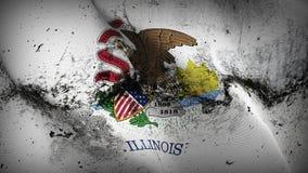 Schmutziges fahnenschwenkendes des Illinois-US-Staats-Schmutzes auf Wind lizenzfreie abbildung