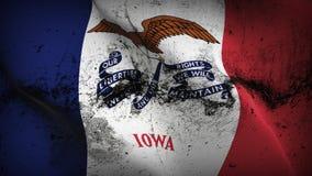 Schmutziges fahnenschwenkendes des Iowa-US-Staats-Schmutzes auf Wind vektor abbildung