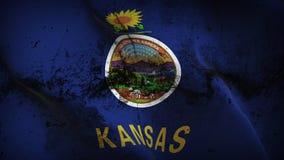 Schmutziges fahnenschwenkendes des Kansas-US-Staats-Schmutzes auf Wind vektor abbildung