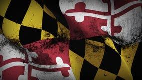 Schmutziges fahnenschwenkendes des Maryland-US-Staats-Schmutzes auf Wind stock abbildung