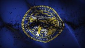 Schmutziges fahnenschwenkendes des Nebraska-US-Staats-Schmutzes auf Wind lizenzfreie abbildung