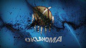 Schmutziges fahnenschwenkendes des Oklahoma-US-Staats-Schmutzes auf Wind stock abbildung