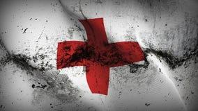 Schmutziges fahnenschwenkendes des Schmutzes des Internationalen Komitees vom Rotem Kreuz auf Wind lizenzfreie abbildung
