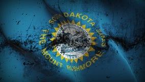 Schmutziges fahnenschwenkendes des South- Dakotaus-staats-Schmutzes auf Wind stock abbildung