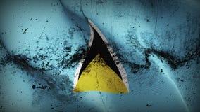 Schmutziges fahnenschwenkendes des St. Lucia-Schmutzes auf Wind vektor abbildung