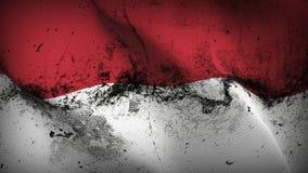 Schmutziges fahnenschwenkendes Indonesien-Schmutzes auf Wind stock abbildung