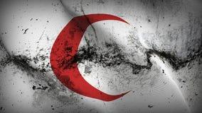 Schmutziges fahnenschwenkendes internationalen roten Crescent Movement-Schmutzes auf Wind vektor abbildung