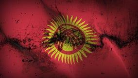 Schmutziges fahnenschwenkendes Kirgisistan-Schmutzes auf Wind vektor abbildung