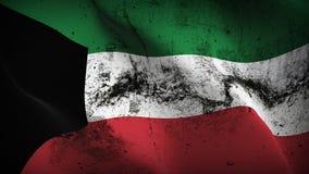 Schmutziges fahnenschwenkendes Kuwait-Schmutzes auf Wind lizenzfreie abbildung