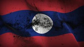 Schmutziges fahnenschwenkendes Laos-Schmutzes auf Wind lizenzfreie abbildung