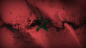 Schmutziges fahnenschwenkendes Marokko-Schmutzes auf Wind stock abbildung