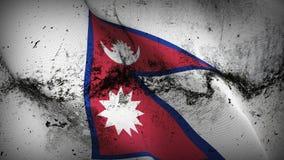 Schmutziges fahnenschwenkendes Nepal-Schmutzes auf Wind vektor abbildung