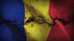 Schmutziges fahnenschwenkendes Rumänien-Schmutzes auf Wind stock abbildung