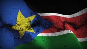Schmutziges fahnenschwenkendes Süd-Sudan-Schmutzes auf Wind stock abbildung