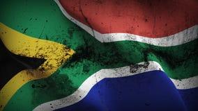 Schmutziges fahnenschwenkendes Südafrika-Schmutzes auf Wind lizenzfreie abbildung