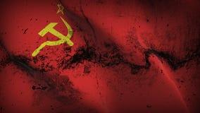 Schmutziges fahnenschwenkendes Schmutzes der Sowjetunions UDSSR auf Wind stock abbildung