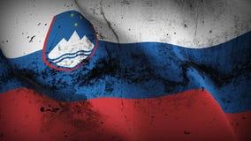 Schmutziges fahnenschwenkendes Slowenien-Schmutzes auf Wind vektor abbildung