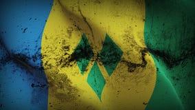 Schmutziges fahnenschwenkendes St. Vincent und die Grenadinen Schmutzes auf Wind vektor abbildung