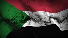 Schmutziges fahnenschwenkendes Sudan-Schmutzes auf Wind lizenzfreie abbildung