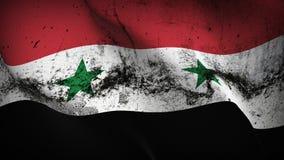 Schmutziges fahnenschwenkendes Syrien-Schmutzes auf Wind stock abbildung