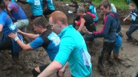 Schmutziges Langlaufrennenstadium Tyumen Russland stock video footage