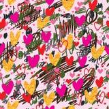Schmutziges nahtloses Muster des Herzzenfarbgoldfunkelns lizenzfreie abbildung