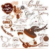 Schmutzkaffeeaufkleber, Unterzeichnungen und Elementsatz Lizenzfreies Stockfoto