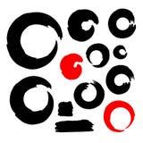 Schmutzkreis-Bürstenanschläge eingestellt Handgemachte künstlerische Sammlung, Schablone für Logo, Geschäft, Ikonendesign Vektor Stockfotos