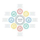Schmutzkreis-Geschäftsdiagramm mit Ikonen und Textfeldern Stockfoto