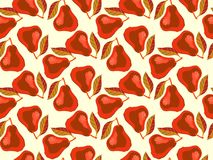 Schmutzmuster mit gemalten roten Birnen und Blättern. Lizenzfreies Stockbild